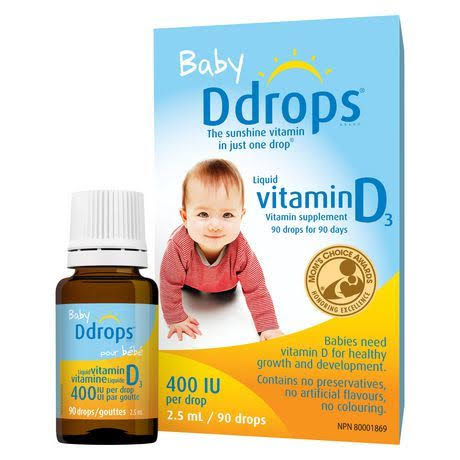 Baby Ddrops Liquid Vitamin D3 Dietary Supplement - 400iu, 2.5ml, 90 Drops