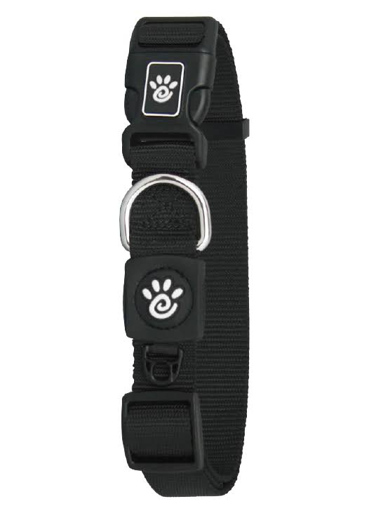 Doco DCSN1072-01M 6 ft. Signature Nylon Leash Dog Collar Black - Medium
