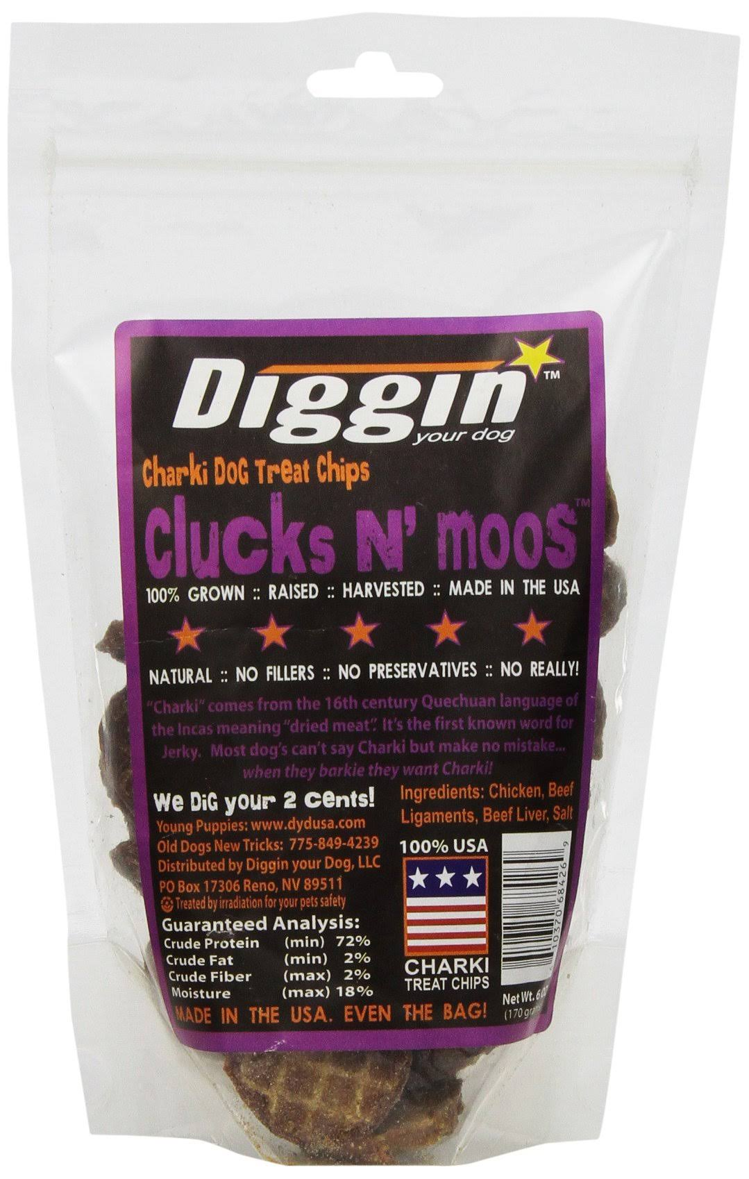 Diggin' Your Dog Cluck 'N Moo Chips Dog Treats - 6oz