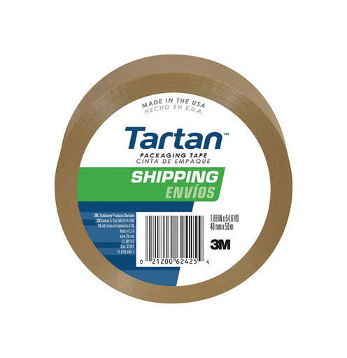 "3M Package Sealing Tape - 1.89"" x 54.6yd, Tan"