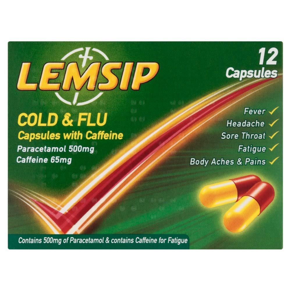 Lemsip Cold and Flu Capsules with Caffeine - 12 Pack