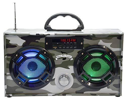 Mini Boombox with LED Speakers - Green Camo