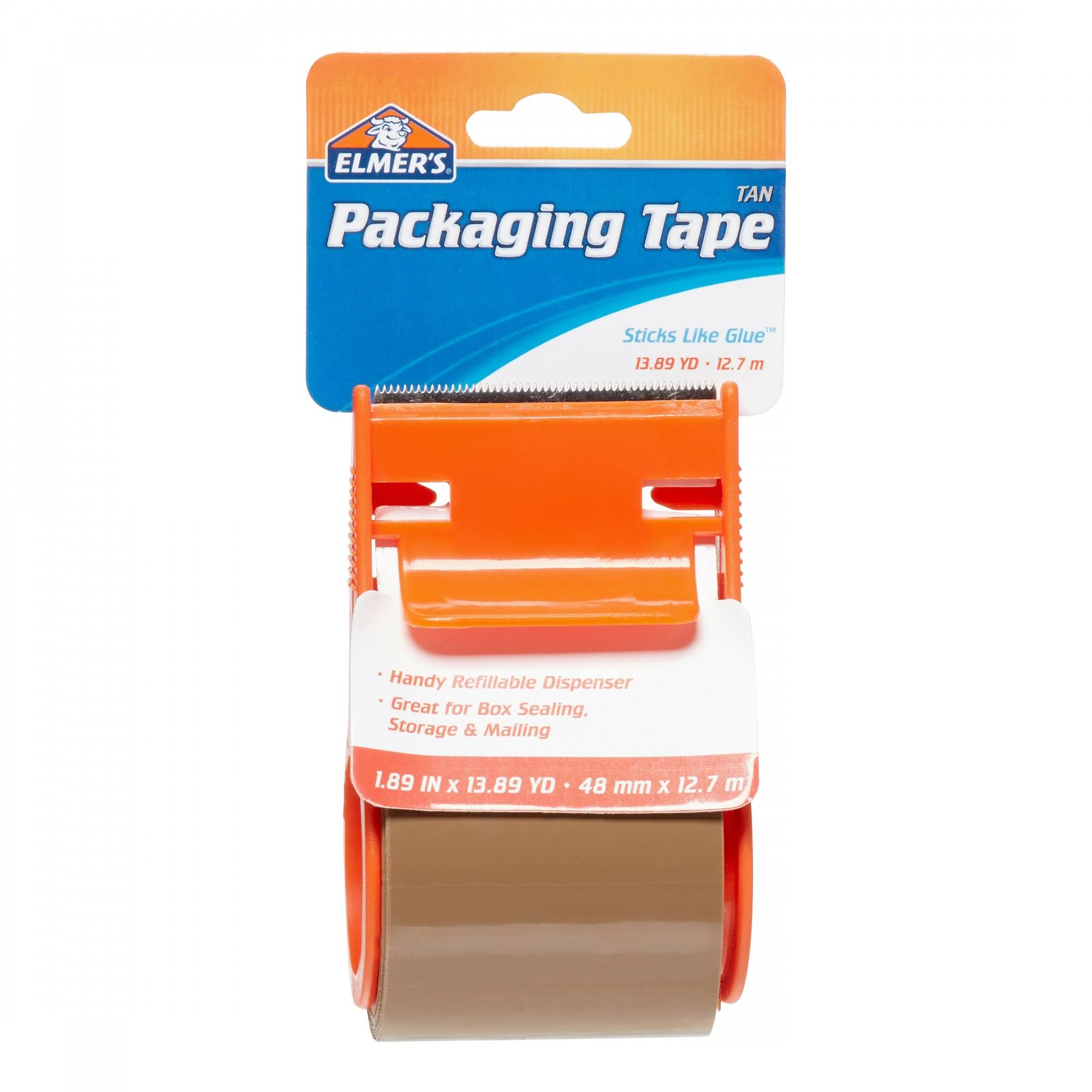 Elmers Packaging Tape - With Dispenser, Tan