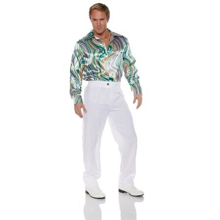Underwraps Disco Mens Adult Green Gold Swirl 70s Costume Shirt