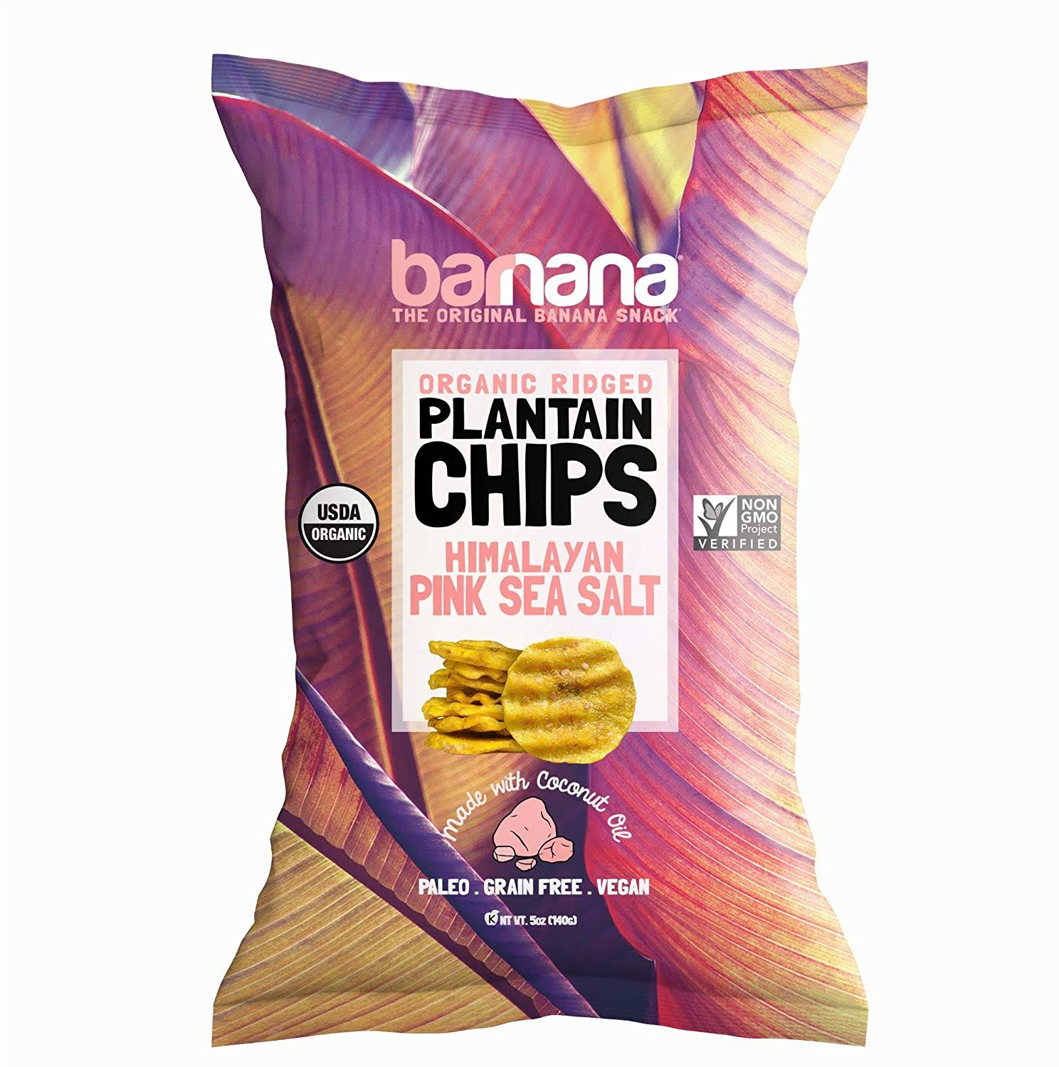 Barnana Plaintain Chips, Organic, Himalayan Pink Sea Salt, Ridged - 5 oz