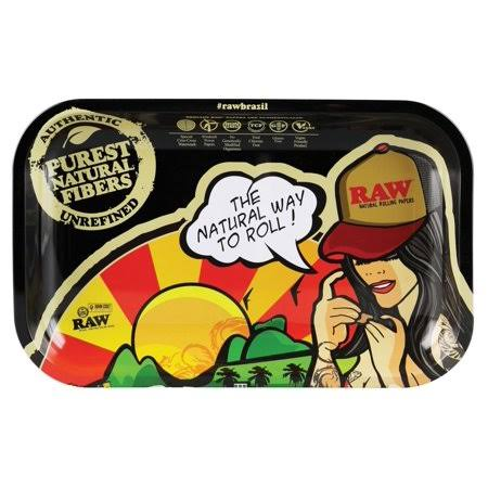 Raw Rolling Tray Brazil Girl - 11 inch x 7 inch / Small, Black