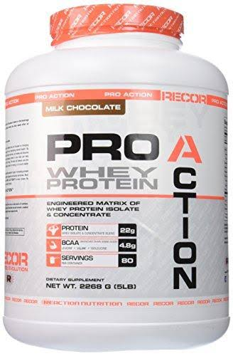 Reaction Nutrition Recor Pro Action Whey Protein Supplement - Milk Chocolate, 5lbs