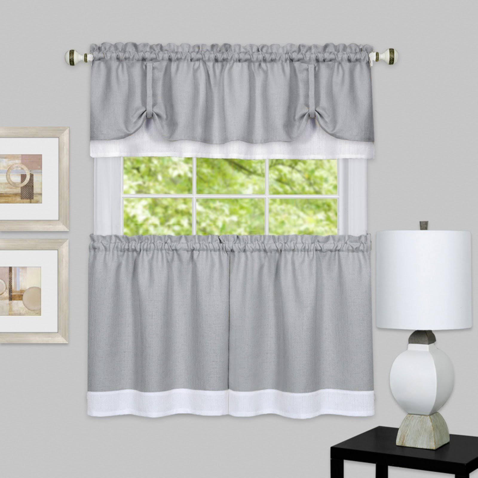 Achim 3-Piece Darcy Tier & Valance Kitchen Window Curtain Set, Grey, 58x36