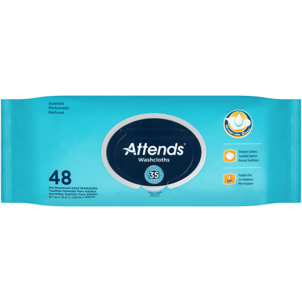 Attends Washcloths Scented - 48 Pack
