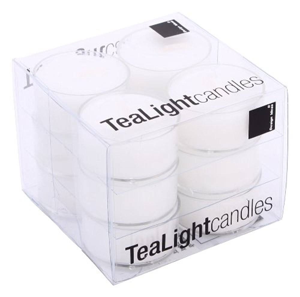 Design Ideas Tealights, Box of 12, White with Clear Cup