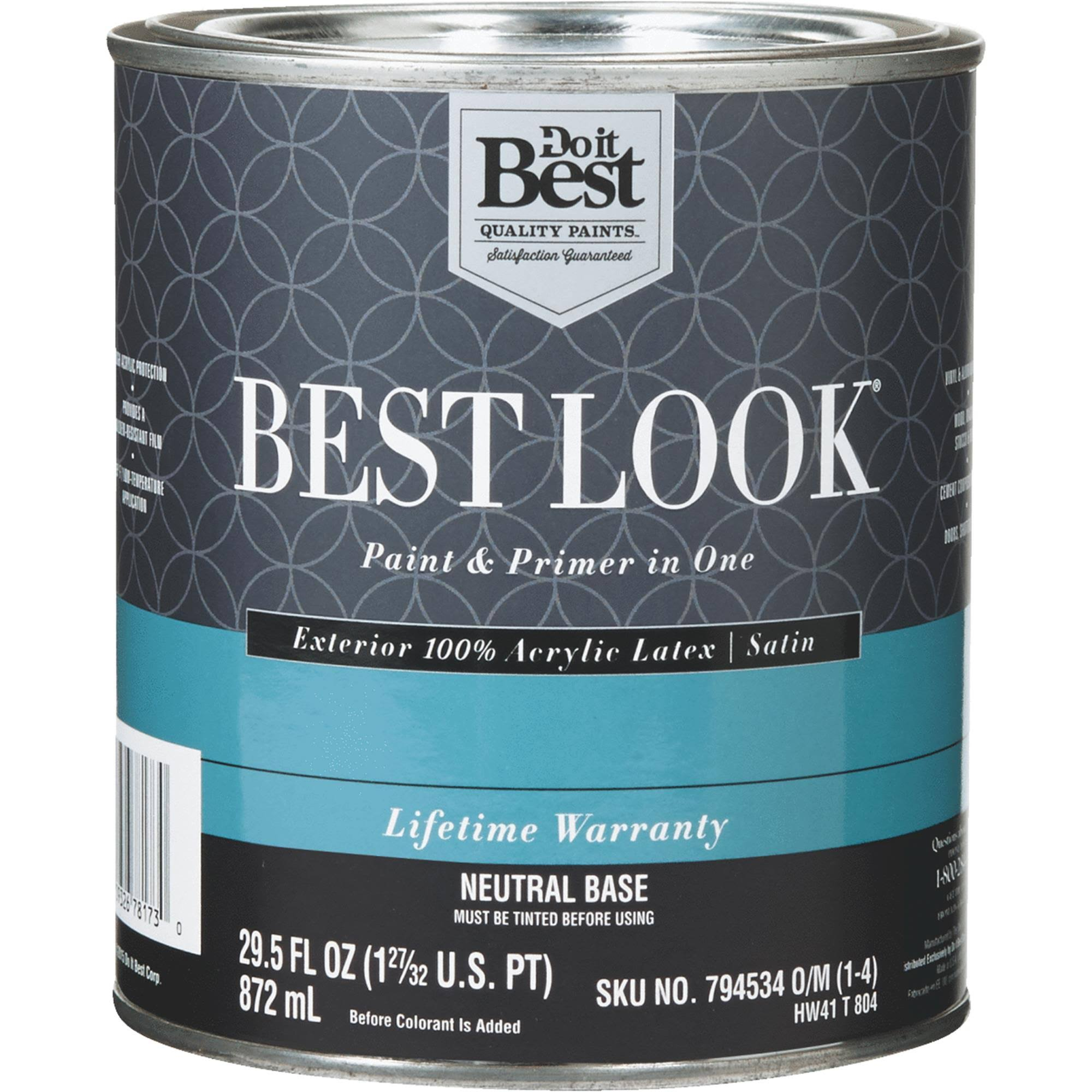 Sherwin Williams Best Look 100% Acrylic Latex Paint & Primer in One Satin Exterior House Paint HW41T0804-14