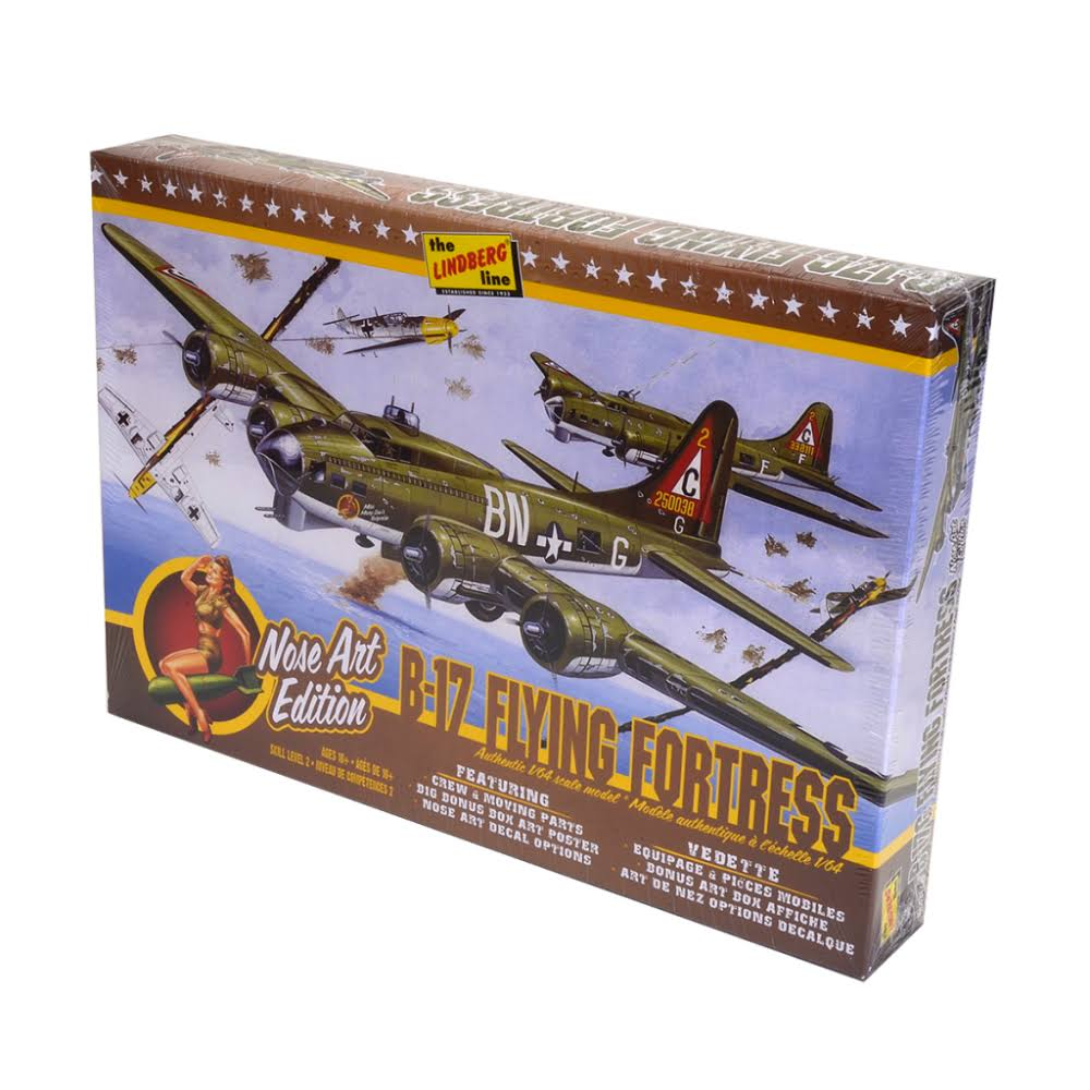 Lindberg Plastic Model Kit - B-17G Airplane Nose Art Edition, 1/64 Scale
