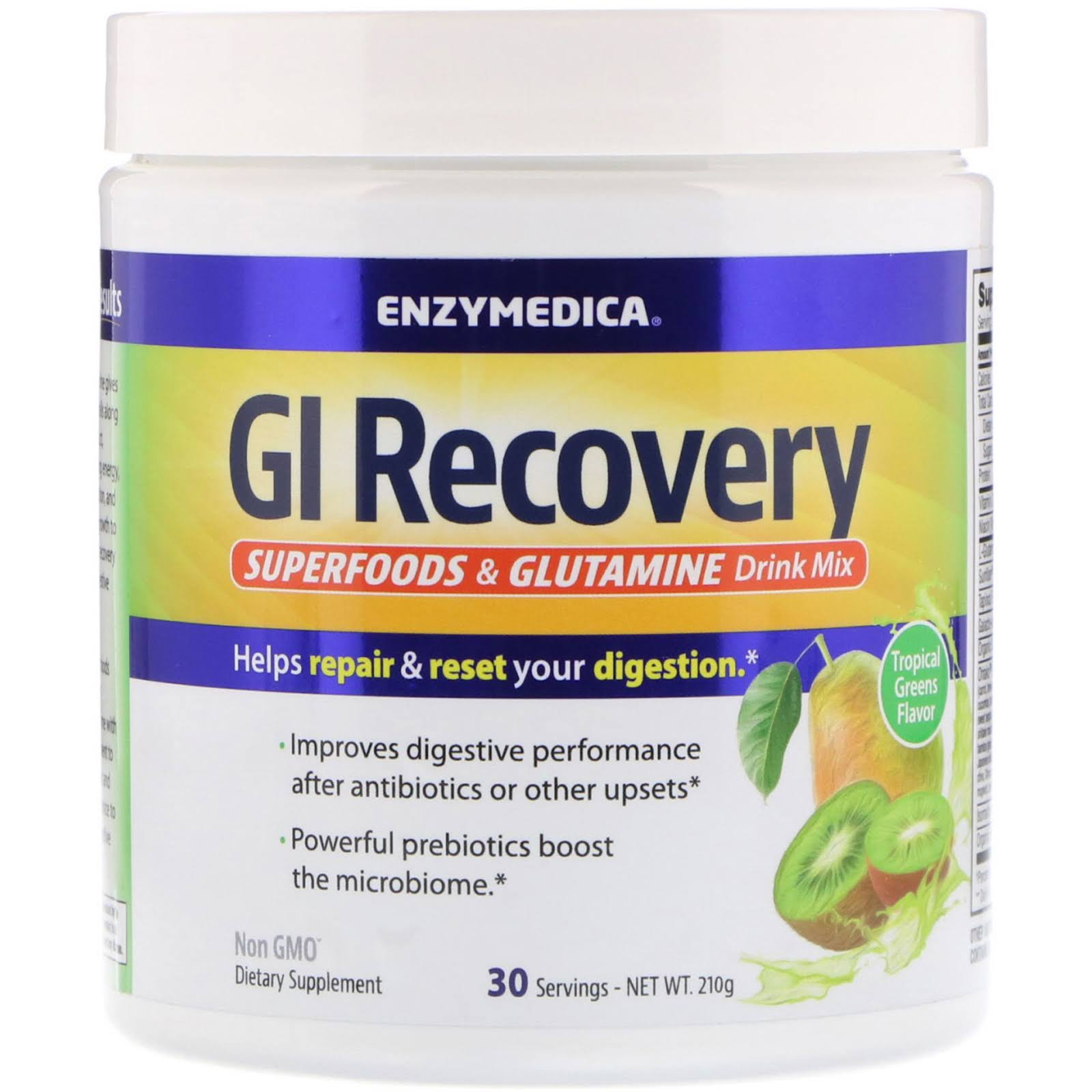 Enzymedica Gi Recovery Drink Mix Tropical Greens 30 Servings
