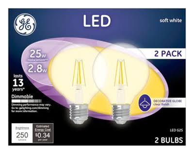 GE Lighting 23049 G25 Dimmable LED Light Bulb - Soft White
