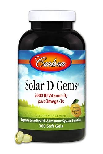 Carlson Labs Solar D Gems Vitamin D3 and Omega 3 - 360 Softgels, 2000 IU