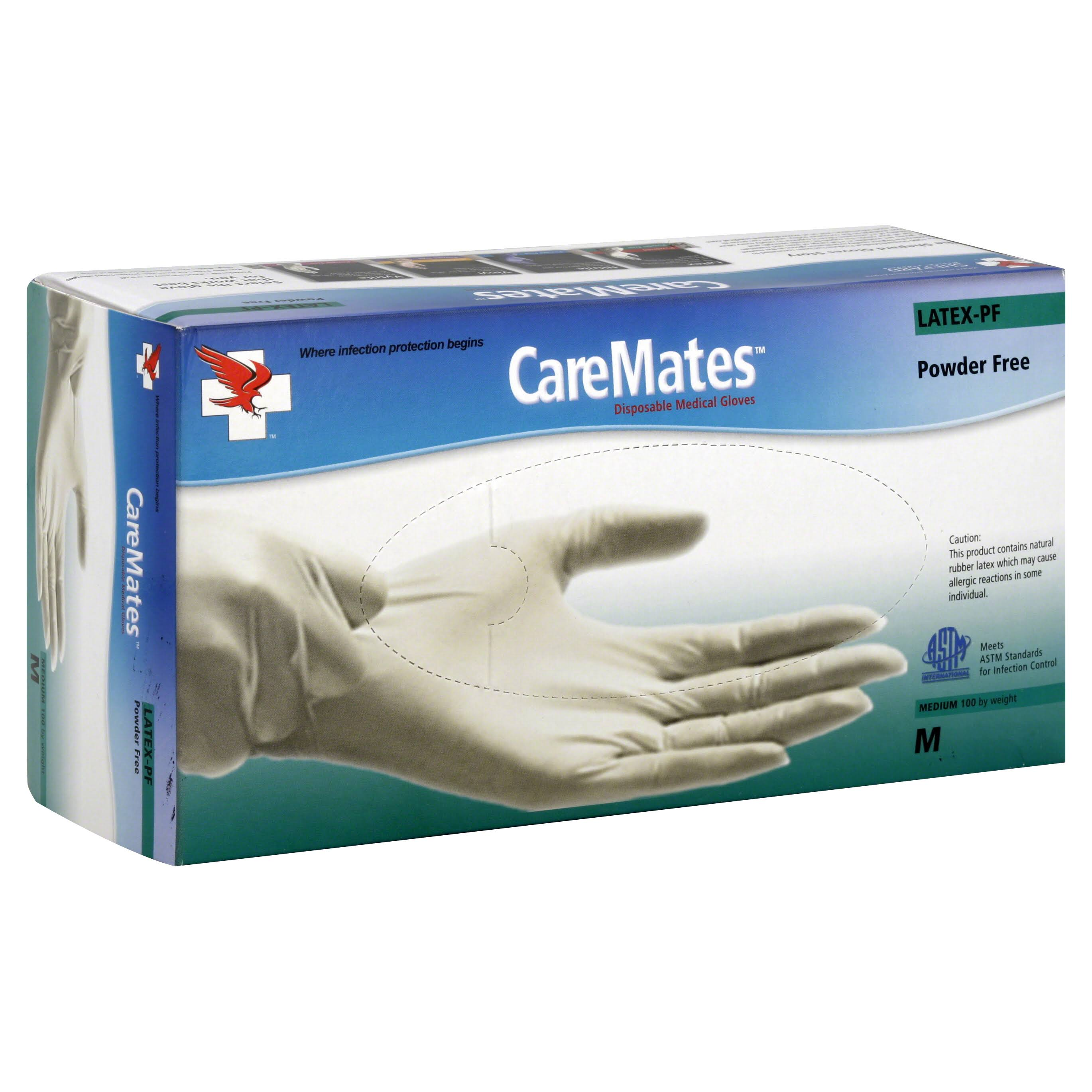 CareMates Powder Free Latex Gloves - Medium, 100ct