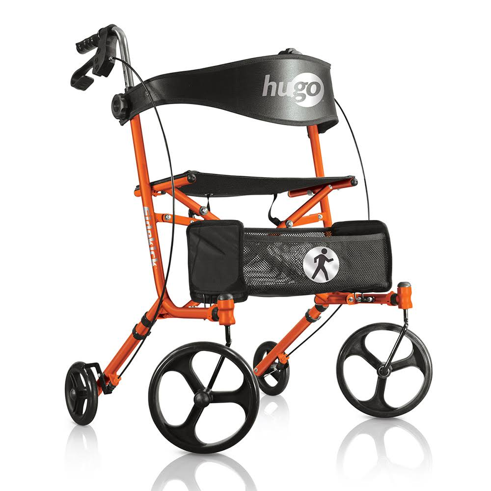 Hugo Sidekick Side-Folding Rollator Rolling Walker with Seat, Tangerine (Orange)