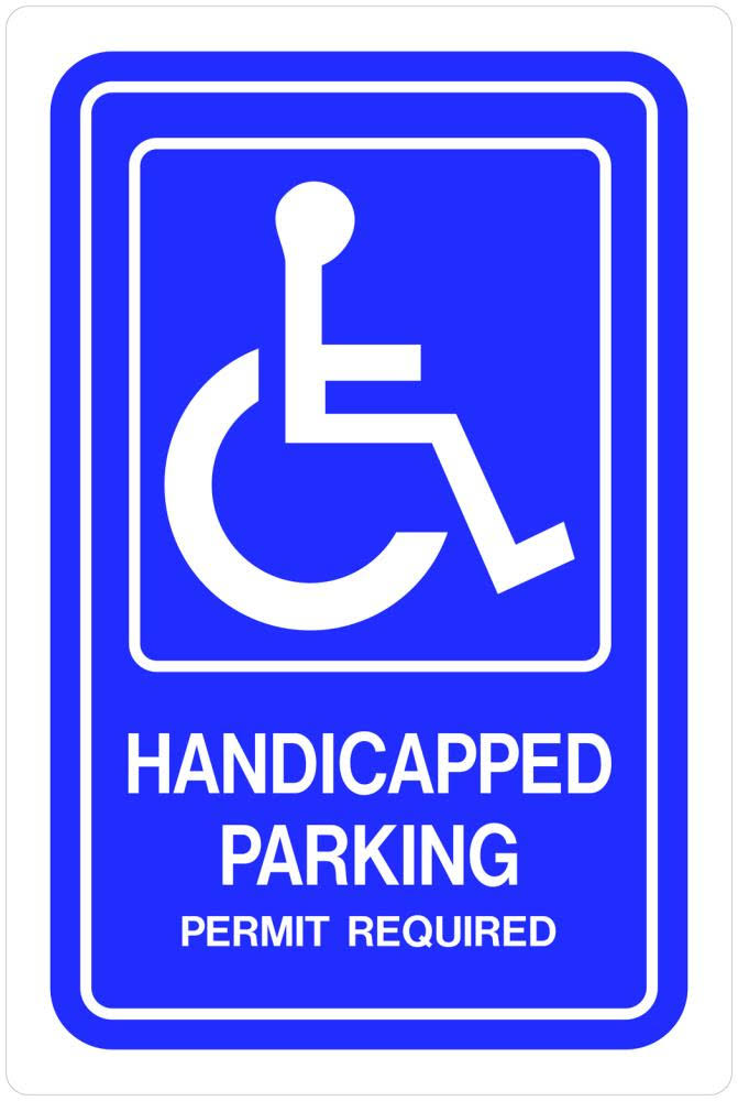 Hillman Group 843294 12 x 18 in. Black & White Aluminum Handicapped Parking Sign