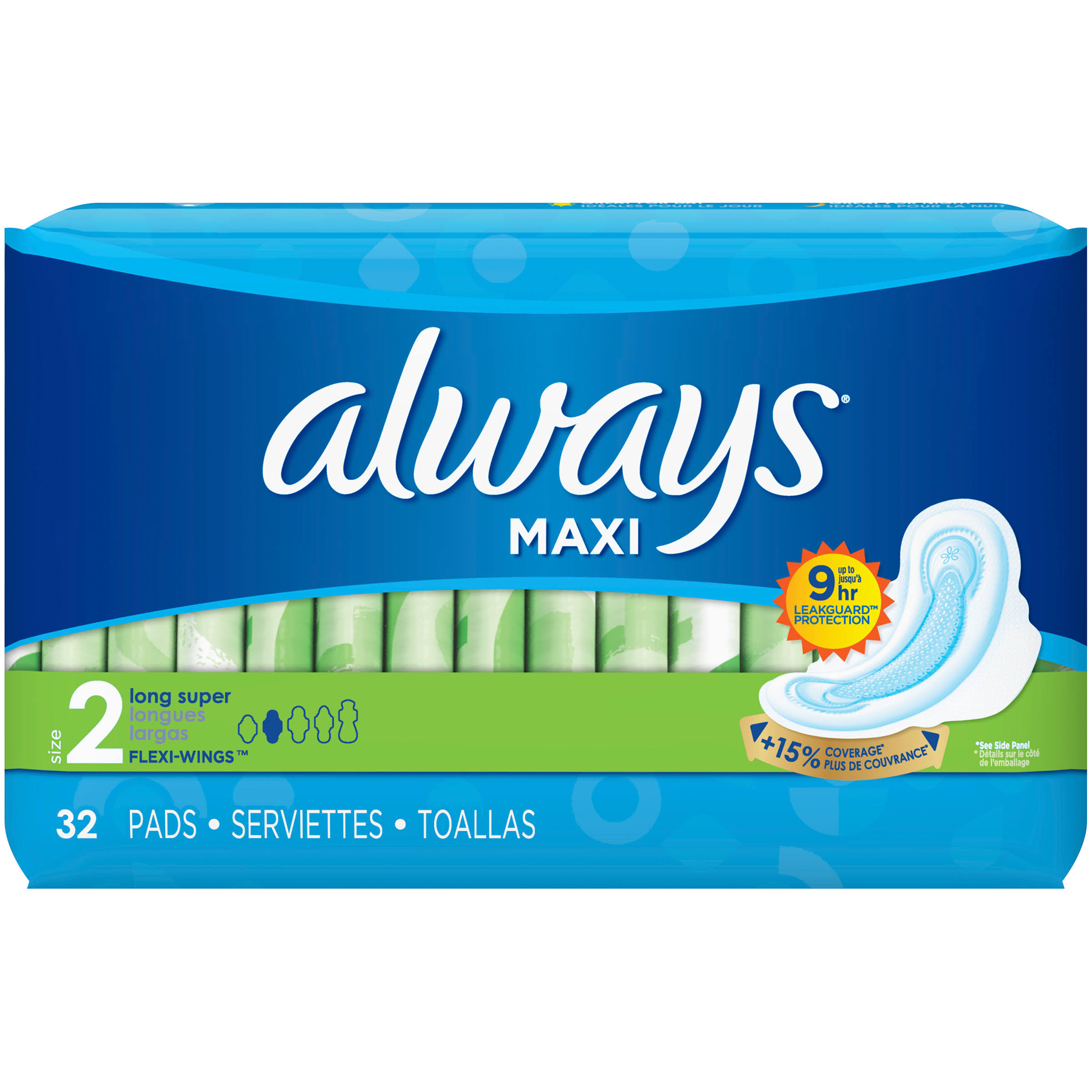 Always Maxi Flexi-Wings Long Super Pads - 32ct