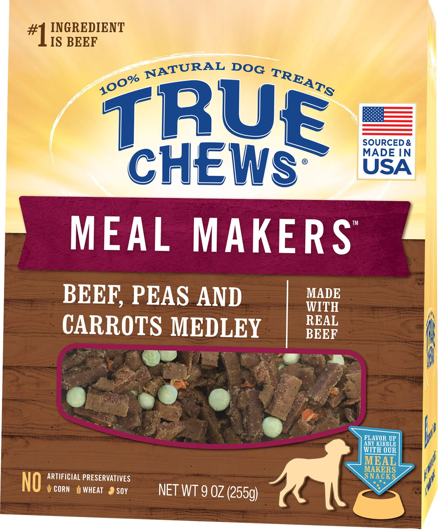 True Chews Meal Makers 9oz Dog Food Topper Beef, Peas & Carrots