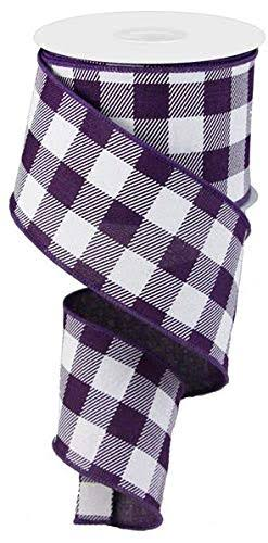 Plaid Check Wired Edge Ribbon - 10 Yards (Purple, White, 2.5 inches)