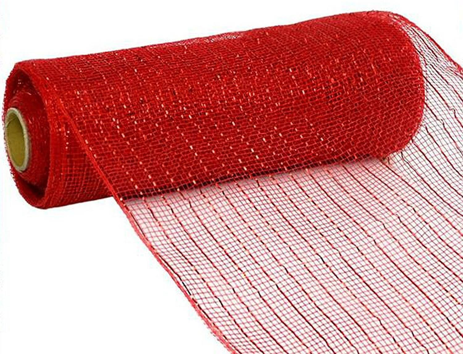 "Deco Poly Mesh Ribbon - Metallic Red/Red Foil, 10""x30'"