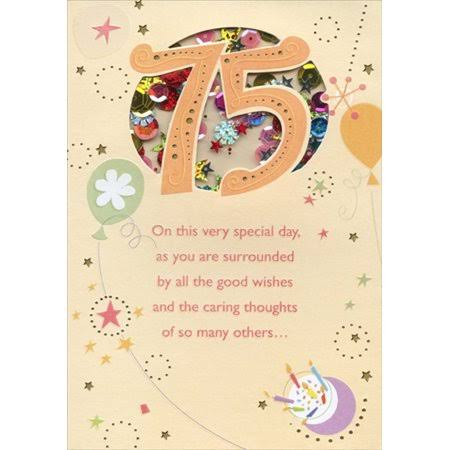 Designer Greetings Very Special Day Sequin Filled Die Cut Window Age 75 / 75th Birthday Card, Size: 5.25 x 7.5