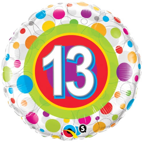 "Qualatex Colourful Dots Helium Foil Balloon - 18"", Age 13"