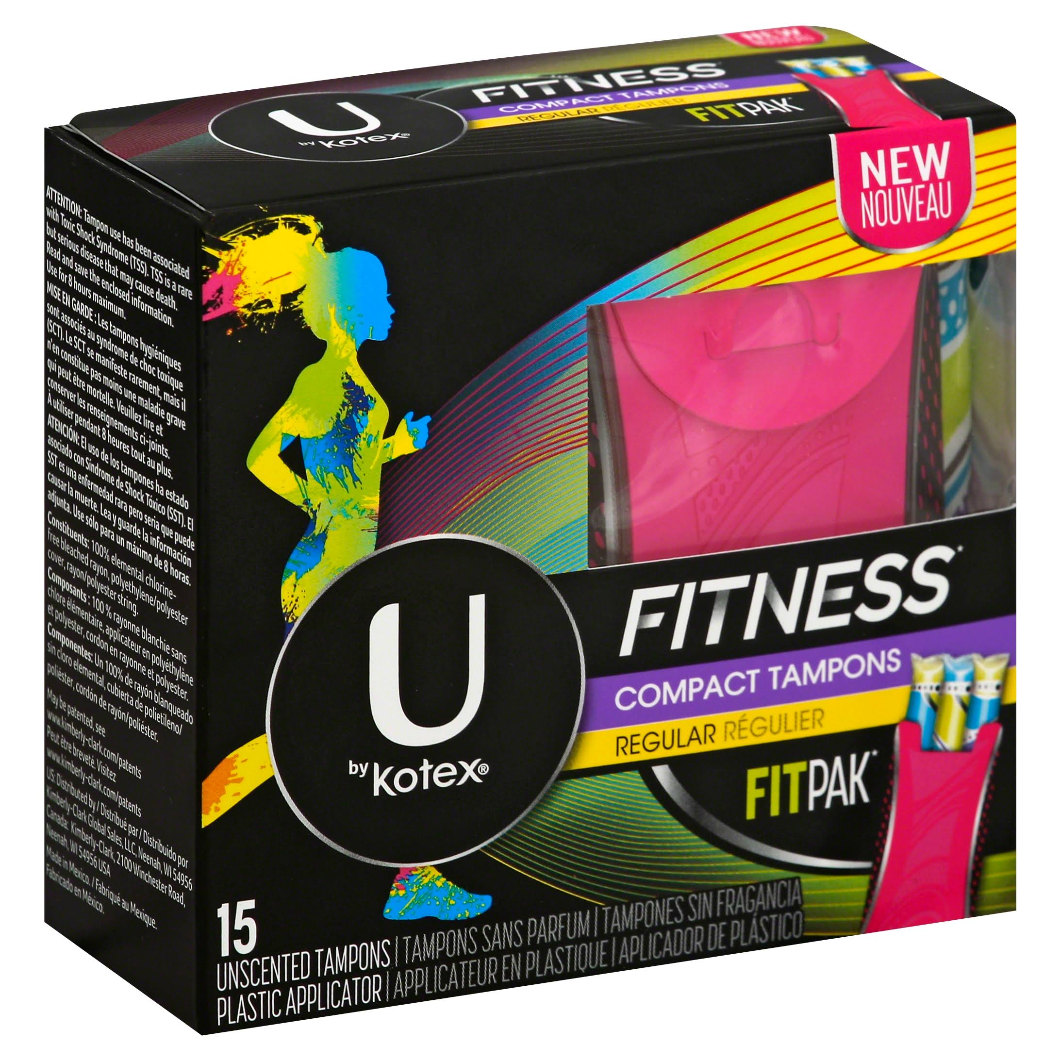 U by Kotex Fitness Compact Tampons - Regular, Unscented, 15ct