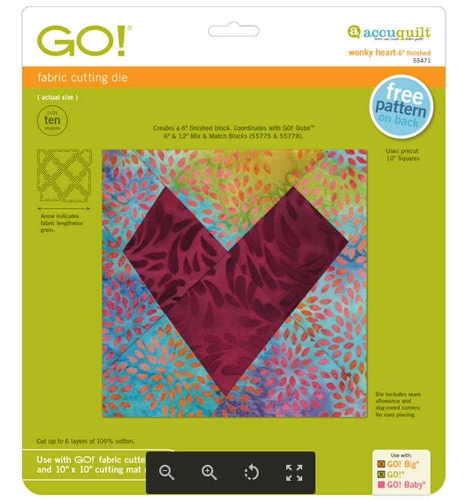 Accuquilt Go Fabric Cutting Dies - Wonky Heart, 6""
