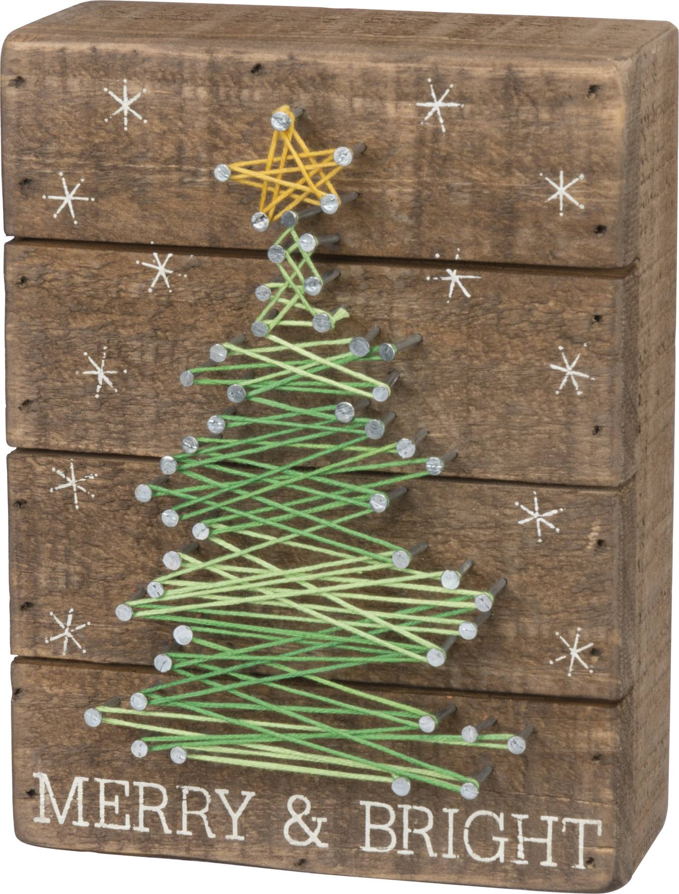 Primitives Merry and Bright Kathy Slat String Art Box Sign