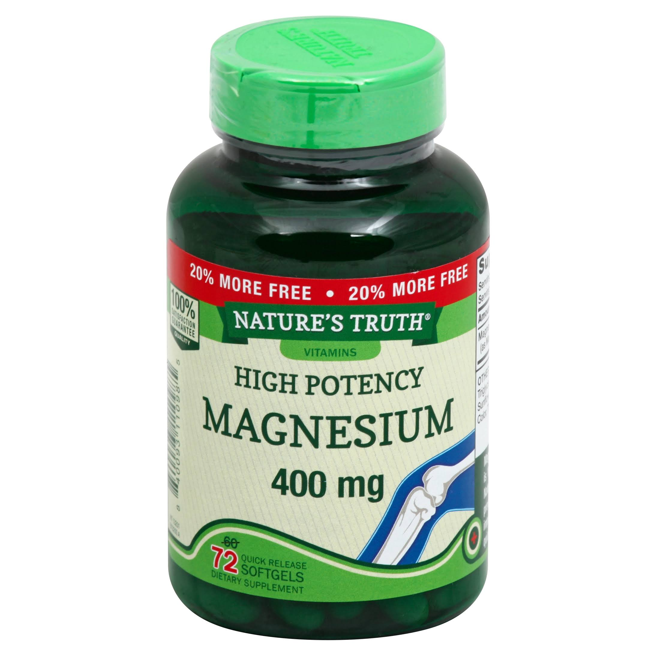 Natures Truth Magnesium, High Potency, 400 mg, Quick Release Softgels - 72 softgels