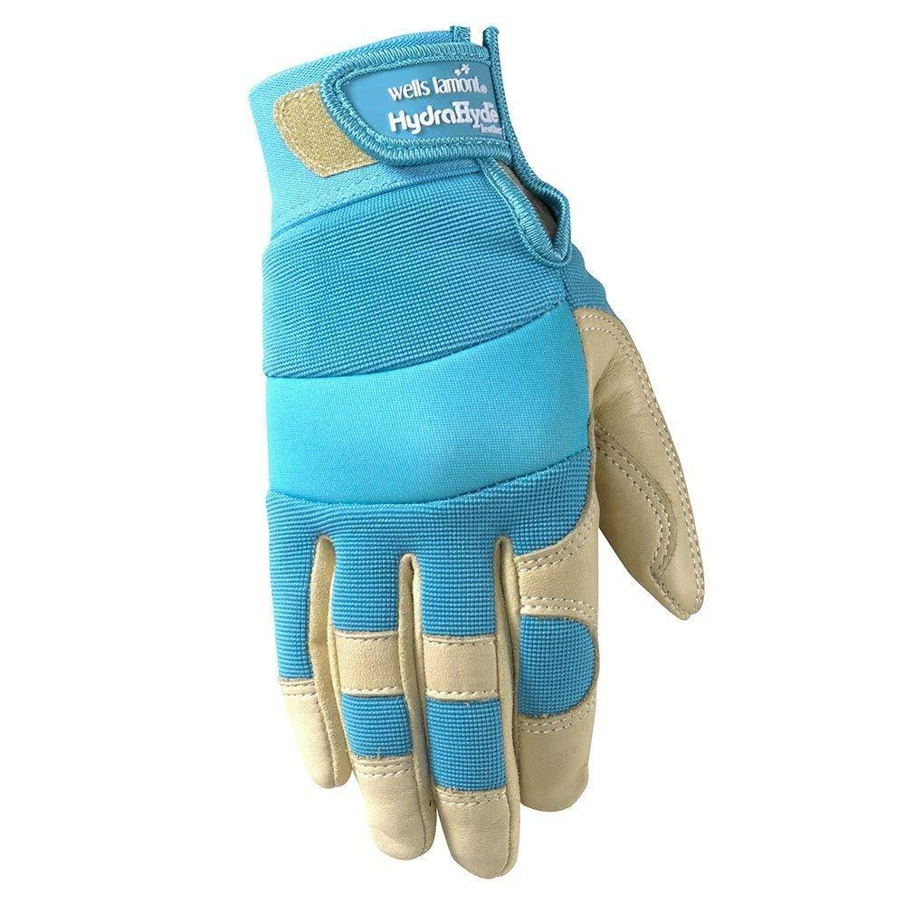 Women's Water Resistant Garden and Work Gloves, HydraHyde Leather, Velcro Wrist, Medium (Wells Lamont 3204M)