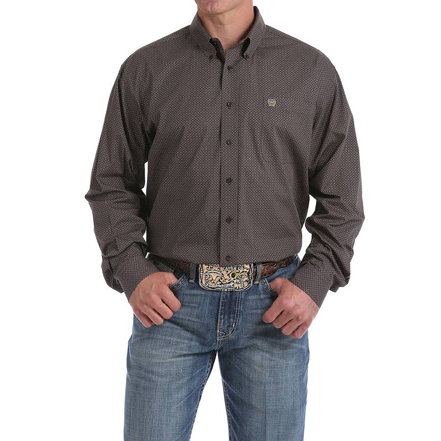 Cinch Men's Brown Geo Print Long Sleeve Western Shirt
