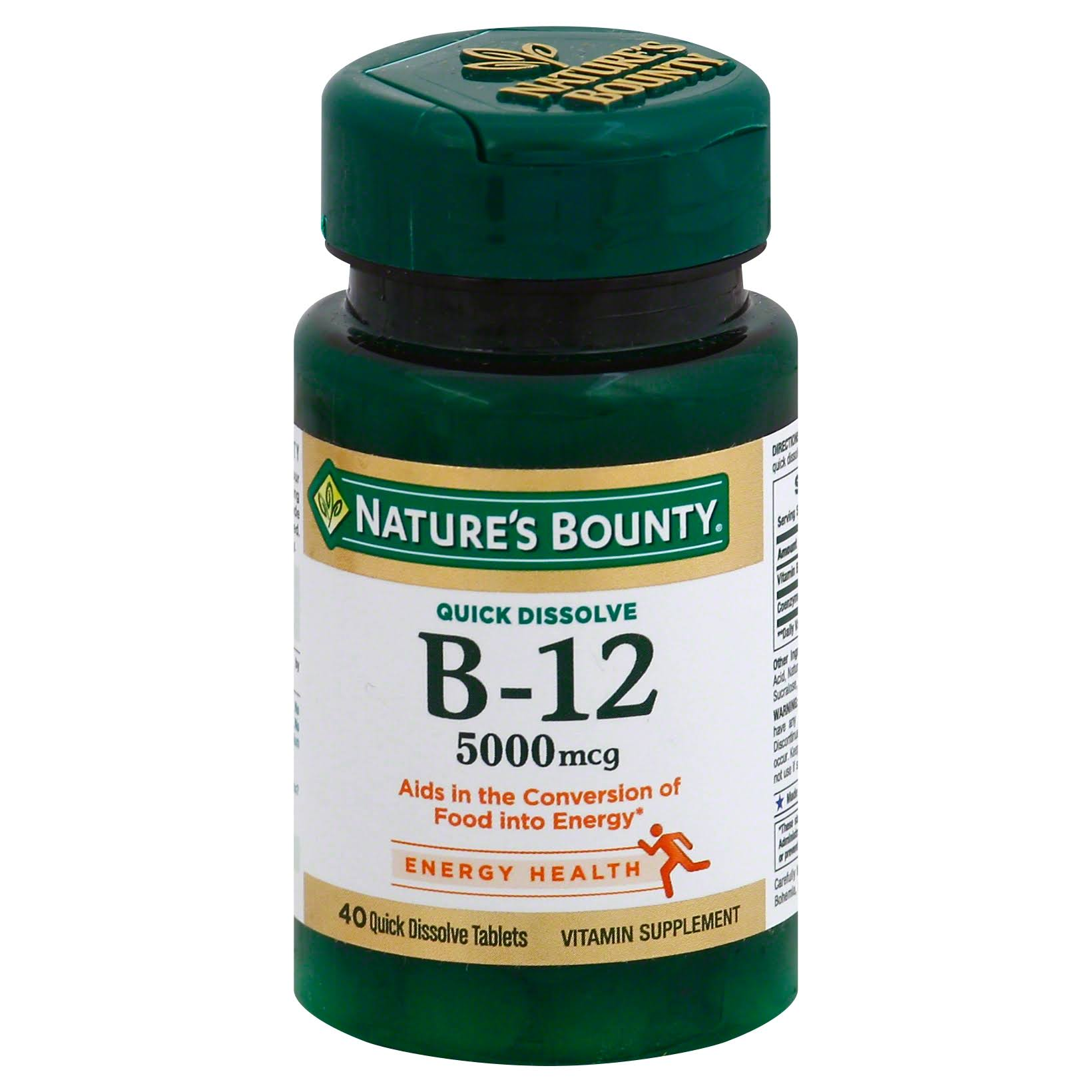 Nature's Bounty B-12 Vitamin Supplement - Natural Cherry, 5000mcg, 40ct