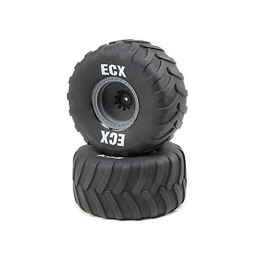 ECX Right/Left Premounted Tire, Gray Wheel (2): 1/10 2WD Axe MT