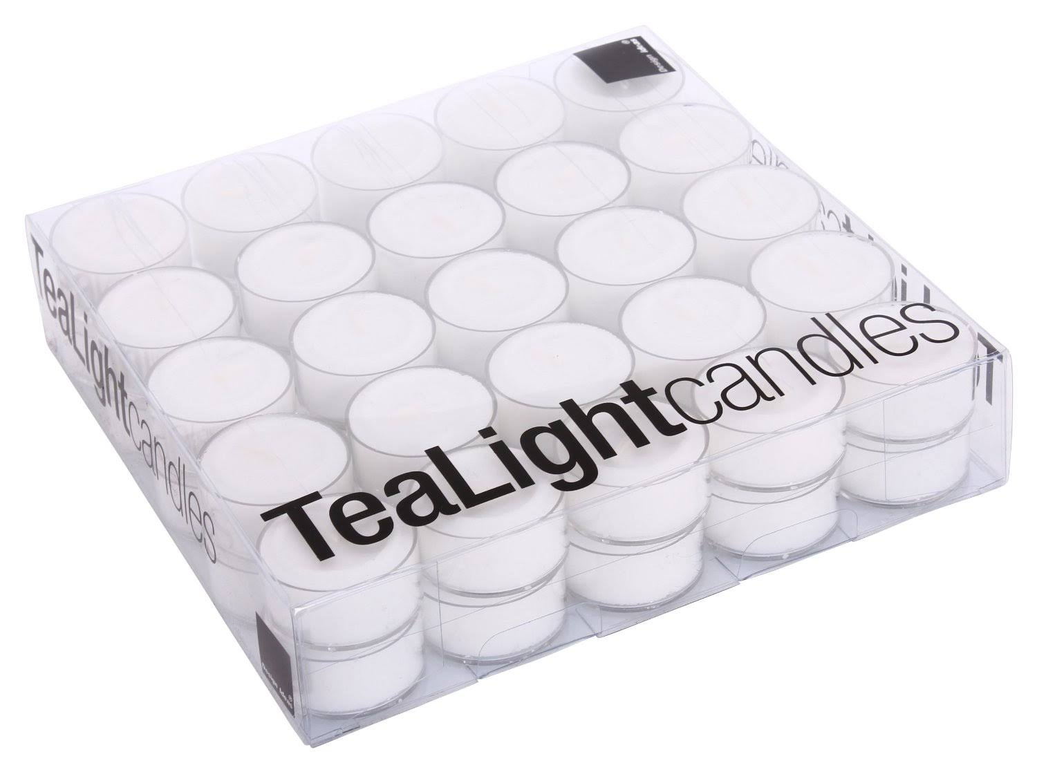 Design Ideas Tealights, Box of 50, White with Clear Cup
