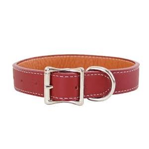 "Tuscany Leather Dog Collar - Red, 0.5"" x 10"""