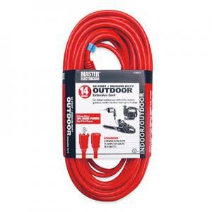 Master Electrician Round Vinyl Extension Cord - Red, 50'