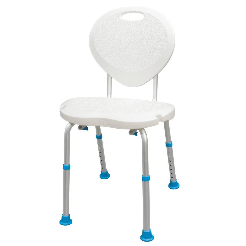AquaSense Adjustable Bath and Shower Chair with Non-Slip Comfort Seat and Backrest, White