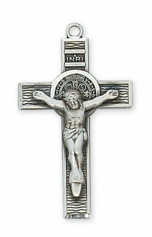 Sterling St. Benedict Crucifix Necklace L9121