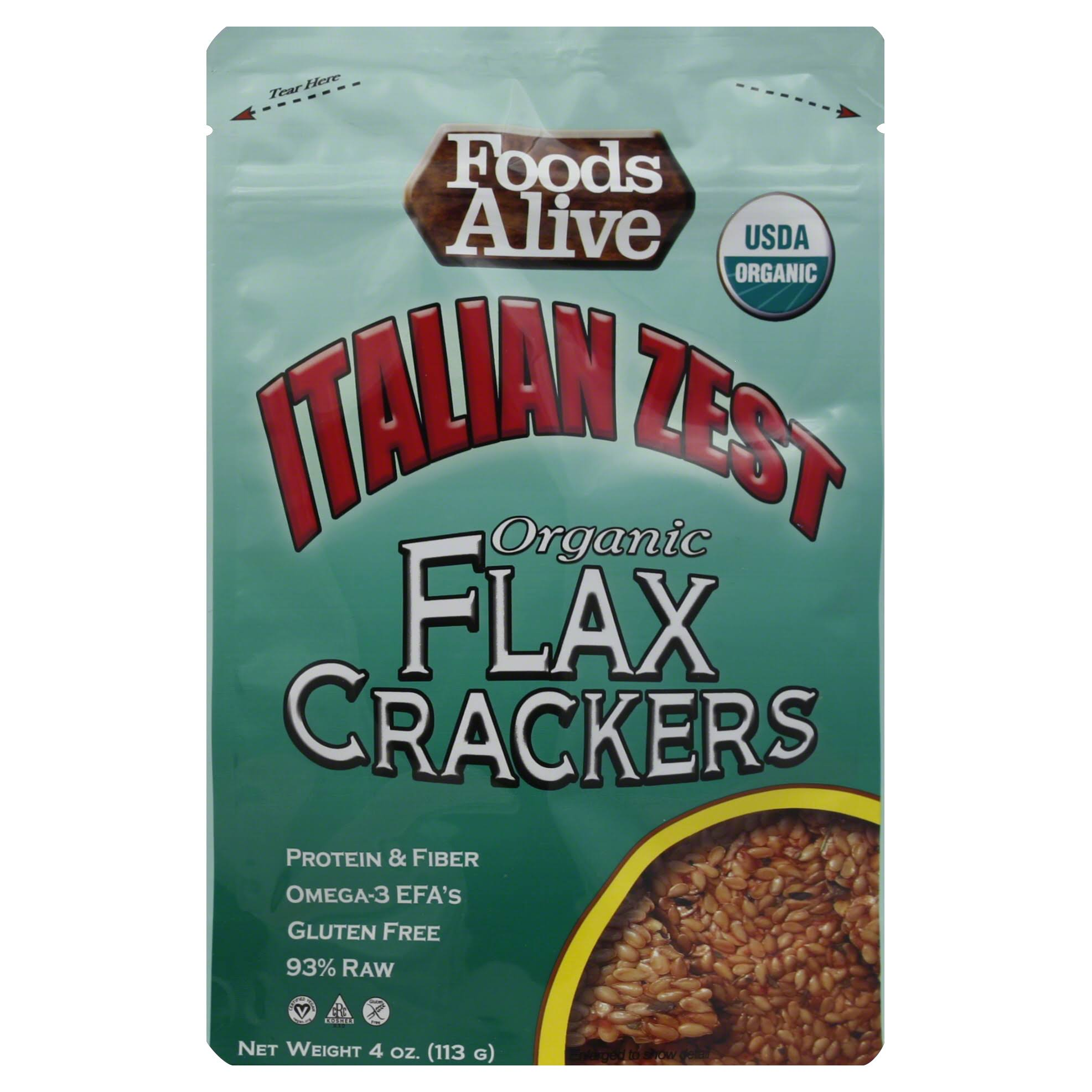 Foods Alive Golden Flax Crackers - Italian Zest, 4oz