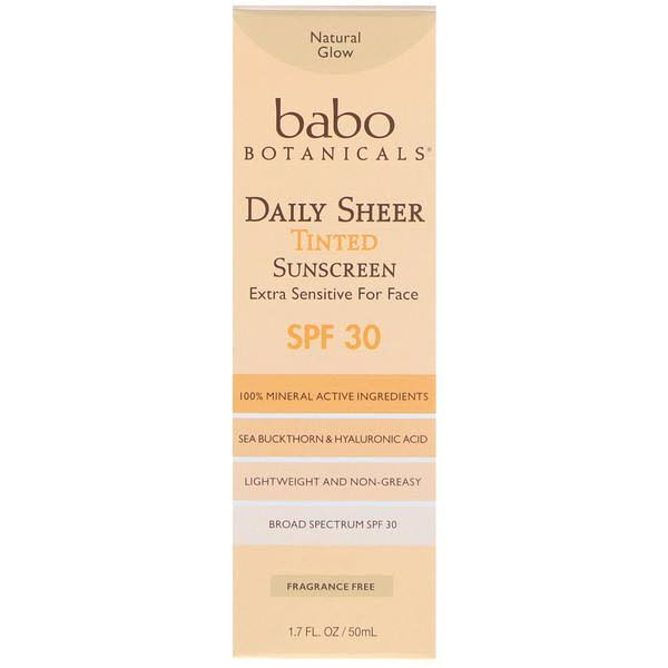 Babo Botanicals Daily Sheer Tinted Sunscreen - Natural Glow, SPF 30, 1.7oz