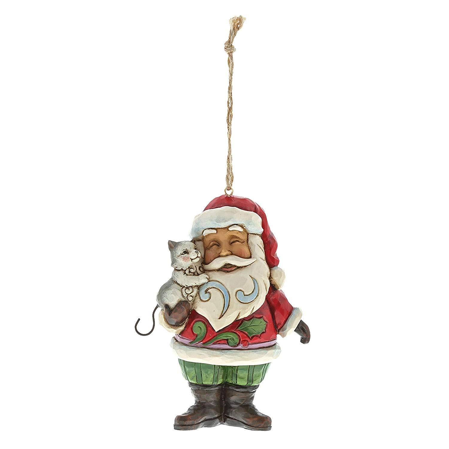 Enesco Jim Shore H7 Heartwood Creek Christmas Santa With Cat Ornament