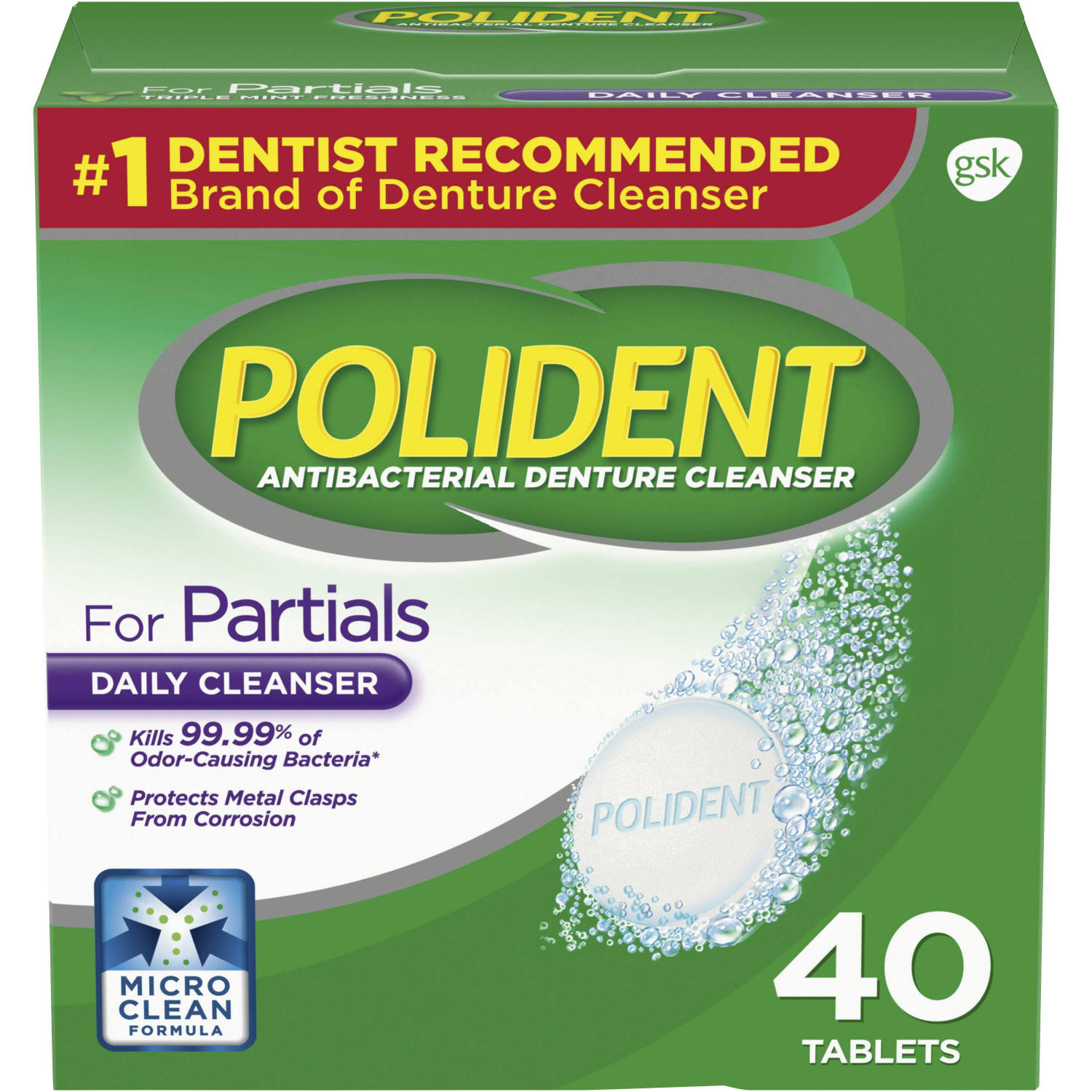 Polident Antibacterial Denture Cleanser - 40 Tablets