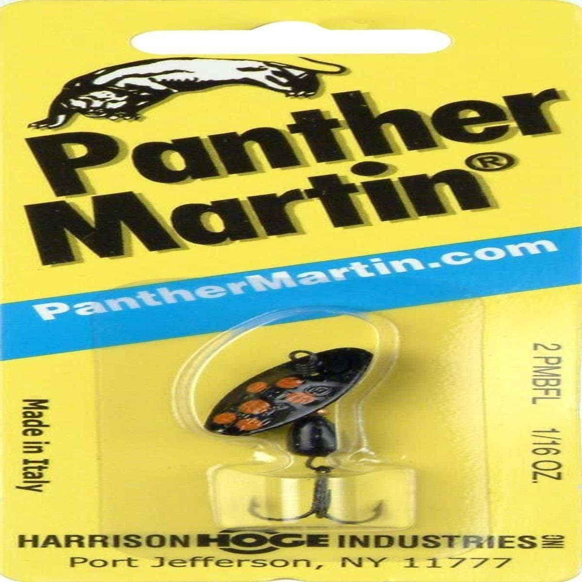 Panther Martin Metallic Spinner - Black with Fluorescent Red Spots, 2 1/16oz