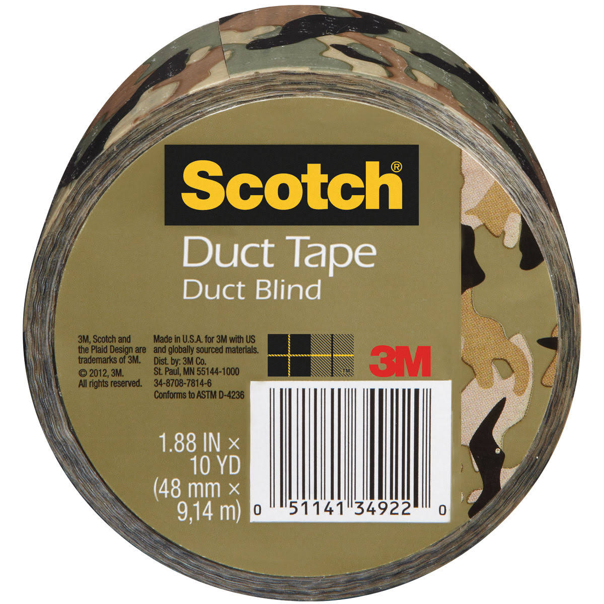 "3M Scotch Printed Duct Tape - Camo, 1.88"" x 10yds"