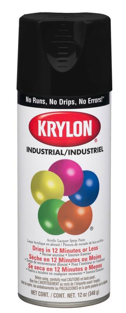Krylon Aerosol Spray Paint - Satin Black, 12oz