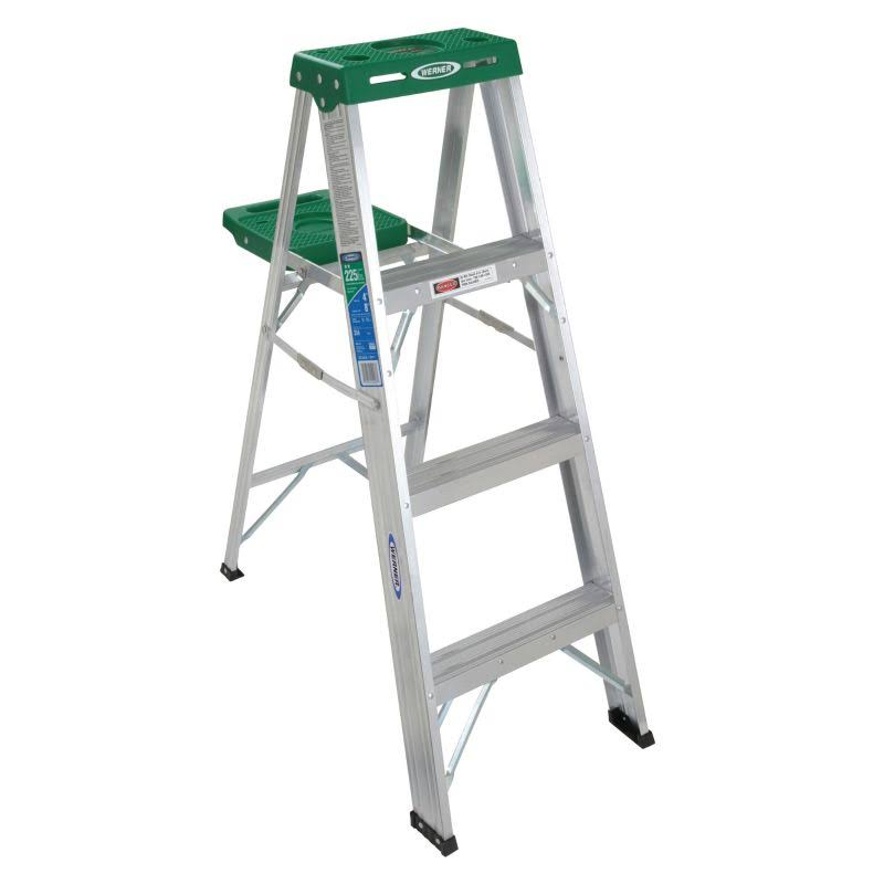 Werner Aluminum Stepladder - Green Top, Light Duty, 4', Type II