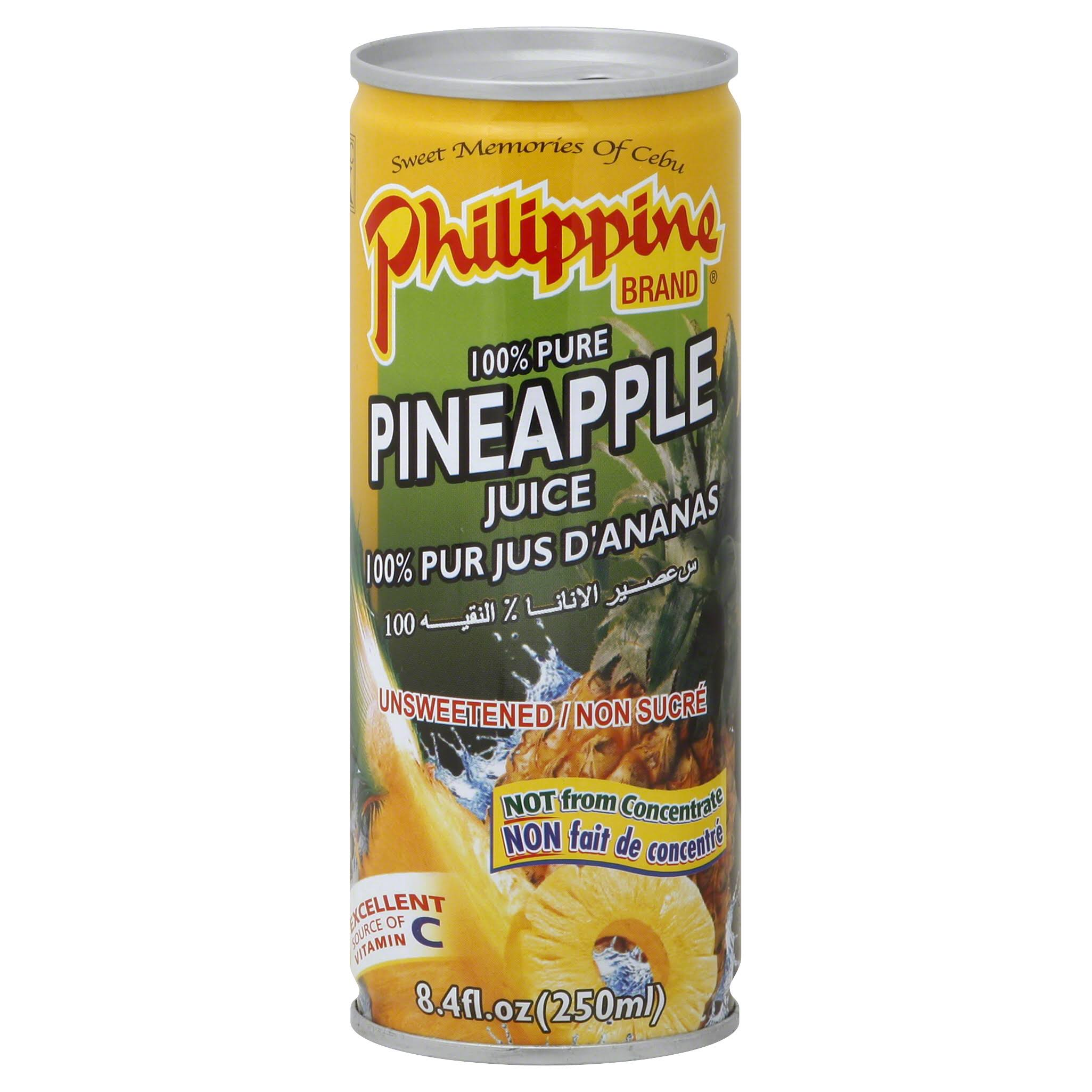 Philippine 100% Juice, Pineapple, Unsweetened - 8.4 fl oz